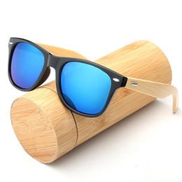 Billige hölzerne sonnenbrille männer online-Bambus Sonnenbrille für Männer Frauen Brillen UV400 Holz Platz Sonnenbrille Spiegel Objektiv Hochwertige Brillen Marken Design Billig Großhandel