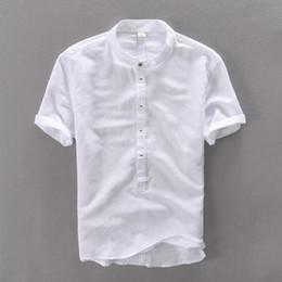 2019 camisetas de lino Camisa de lino del verano de los hombres de alta calidad ocasional de tres cuartos de manga regular confortables Tops Thin Fit Blanco Popover lino camisetas masculinas camisetas de lino baratos