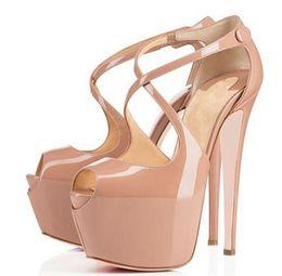 16 см кожаный каблук Скидка Red Bottom высокие каблуки 16см сандалии на платформе с открытым носком крестовые туфли из лакированной кожи для женщин с оригинальной коробкой