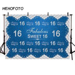 2019 festa de aniversário das decorações do diamante MEHOFOTO Aniversário Cenário para Doce 16 Fotografia Azul Denim Diamante Partido Banner Decoração de Fundo para Estúdio de Fotografia