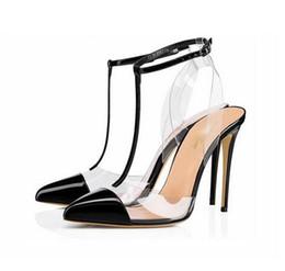 Lanières de talons noires en Ligne-Livraison gratuite mode nouvelle femme femmes dame 2019 New Black Poined Toes PVC slingback chaussures à talons hauts chaussures sandales Pompes t sangle haute-HEELED chaussures