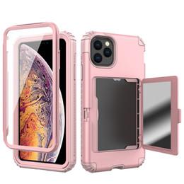 Carteiras escondidas on-line-Para iPhone 11 Case Design de carteira com espelho traseiro oculto e titular do cartão Capa protetora resistente a choques para iPhone 11