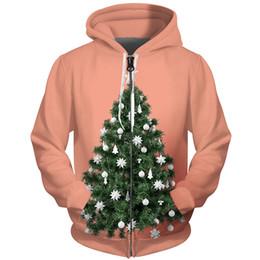 Laranja feche acima o revestimento on-line-Cloudstyle Inverno Zip Up Treinos de Malha Hip Hop Streetwear 3D Impressão Árvore De Natal Laranja Jaqueta Moda Solto Moletons Tops