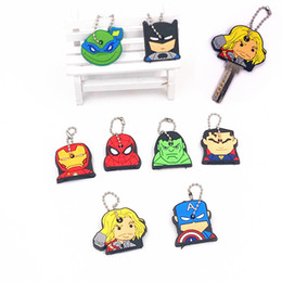 Ponto chaveiros on-line-1 Pcs Da Marvel Emoji Heros Chaveiros Silicone Stitch Unisex Chave Tampa Chave Caps Anel Cadeia de jóias