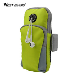 Monedero para el brazo online-WEST BIKING Sport Bag Phone Holder Jogging GYM Tapa ajustable ArmBand Cover Wallet Running Ciclismo Riding Running Arm Bags # 294809
