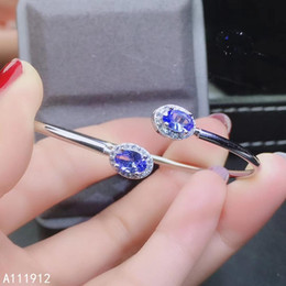sterling silver tanzanite bracelet Promo Codes - KJJEAXCMY fine jewelry natural Tanzanite 925 sterling silver new women hand bracelet wristband support test luxury