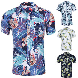 41ca3668e166 2019 New Fashion Summer Men's Casual Short Sleeve Summer Hawaiian Aloha  Shirt Men Button Down Floral Pineapple Print Shirts