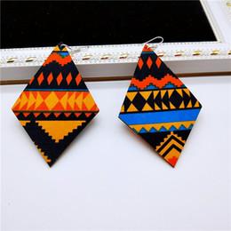 Malerei afrikanisch online-Zustrom Ohrringe weiblichen Diamanten afrikanischen gemalten Muster Retro-Druck einfache hölzerne geometrische Ohrringe