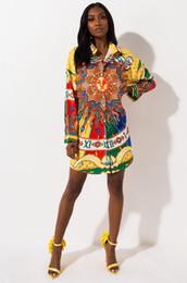 Vestido de sol da mulher on-line-Mulheres Designer Sun Impresso Camisa Vestidos Moda Lapela Pescoço Senhoras Casuais Manga Longa Blusa Vestidos de Roupas Das Mulheres