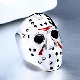 2019 muy buenas flores Anillo de dedo de película de moda Black Friday Jason's Hockey Mask Anillos para hombres Acero inoxidable Gótico Punk Biker Ring Jewelry