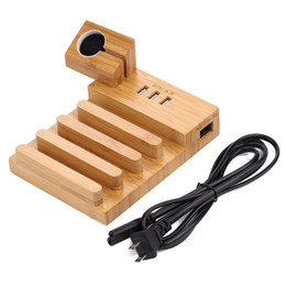 2019 ipad iphone docking station ladegerät Bambus-Holzhalterung Multi-Device Desktop 3 USB-Ladestation Ladestation für iPhone Samsung iPad iWatch günstig ipad iphone docking station ladegerät