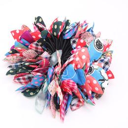 Ragazza dei modelli coreani online-100 pz / lotto casuale modello mix stile coreano elastici per capelli tessuto colorato tessuto elastico orecchie di coniglio fasce per capelli all'ingrosso per le donne ragazze