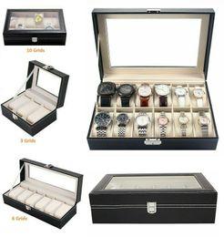 humidificador charutos Desconto 3/6/12 Faux Leather Assista Display Case Caixa de armazenamento Jóias de vidro Top