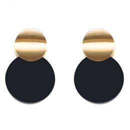2019 borchie in metallo dorato 6pair New Fashion personalità Asimmetria taglia Tondo foglio Metallo opaco spazzolato oro orecchini a bottone geometrici per le donne Gioielli R-7 sconti borchie in metallo dorato