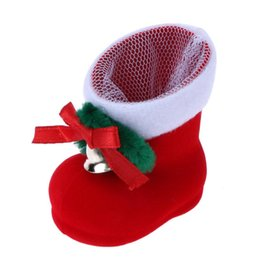 christmas gift boot Coupons - Christmas Red Boots Candy Gift Bag Santa Claus Christmas Decoration for Home Party Xmas Tree Hanging Ornaments Candy Gift Box