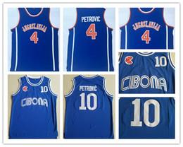 camisetas de baloncesto de la universidad Rebajas Mens Vintage College # 10 Cibona Drazen Petrovic Camisetas de baloncesto Drazen Petrovic # 4 Jugoslavija Yugoslavia Croacia Camisetas Azul