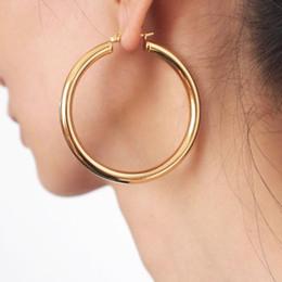 orecchino tubolare Sconti Punk 55 millimetri Diametro orecchini largo del cerchio orecchini per le donne Stainless Steel Tube Dichiarazione monili all'ingrosso 2018 UKMOC