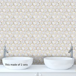 2019 arte de parede espelho redondo Telhas de Mármore Branco hexagonal Auto Adesivo Art Decalque De Vinil Banheiro À Prova D 'Água Removível Cozinha Anti Óleo Adesivos Telhas Sala de estar Decoração