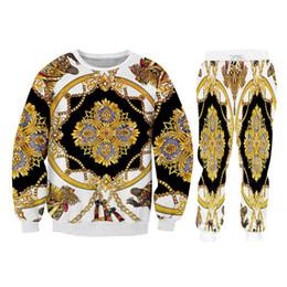 chaînes de pantalon Promotion Funky Hoodie Sweatshirtjogger Pants Ensemble de 2 pièces Unisexe Hip Hop Chaîne dorée Pull à capuche Survêtements