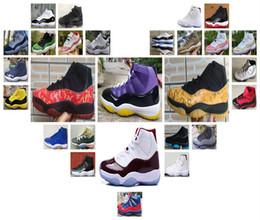 Laços de sapato rosa quente on-line-2018 New Hot venda 11 11s Homens tênis de basquete blackyellow azuis brancos Snaker rosa 11s cinzentas brancas Hight cortar Homens Basketball tamanho Shoes: 40-47.