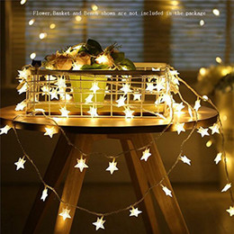 Luces de estrellas parpadeantes led online-Stock Star Star String Lights Funciona con pilas Luces LED Twinkle 40pcs LED Interior Luces de Hadas Blanco cálido para Patio Boda Dormitorio Princesa