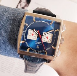 Reloj deportivo cuero azul online-Hombre famoso Reloj de cuarzo cronógrafo de lujo para hombre Reloj de acero inoxidable Correa de cuero Hombres Mónaco Relojes deportivos Mesa azul militar