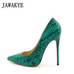 2019 scarpe tacco alto verde JAWAKYE Runway Snakeskin Green Women Pumps Sexy punta a punta 12CM Thin scarpe tacchi alti Slip On Donna Retro Party Shoes Donna sconti scarpe tacco alto verde