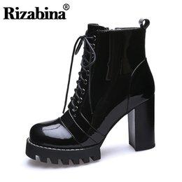 2019 dicke kreuzriemenfersen RIZABINA Ankle Knight Stiefel Thick Platform Echtes Echtes Leder Thick Heel Cross Strap Wintermode Warme Fell Schuhgröße 35-41 günstig dicke kreuzriemenfersen