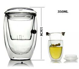 Bicchiere da tè in vetro doppio strato resistente al calore con borosilicato trasparente in cristallo con coperchio per acqua W8213 da bicchieri di cristallo di cognac fornitori