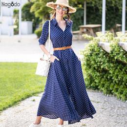 Nagodo Polka Dot Dress 2019 Nouvelle Plage Dames Vintage D'été Robes De Mousseline De Soie À Manches Longues Mince Bow Belt Femme Chemise Maxi Robe J190529 ? partir de fabricateur