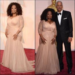 Vestidos oprah winfrey on-line-2019 Elegante Oprah Winfrey Celebrity Evening Vestidos plus size v chiffon bainha pescoço com mangas compridas mãe de vestidos de noiva noivo