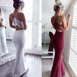 slim fit long prom dress Coupons - In Stock Sexy Mermaid Evening Dresses Spaghetti Slim Fit Lace Prom Dress Floor Length Cheap Criss Cross Straps Party Gowns