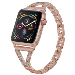 Apple watch cinghie uomini online-Bling Bands per Apple Watch 38mm 40mm 42mm 44mm Replacement, Uomo Donna Metal Bracelet con diamante per Apple iWatch Series 4/3/2/1