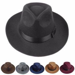 2019 boonie sombreros verde Unisex Hombres Mujeres grueso de la vendimia de lana de Fedora del fieltro de ala ancha Panamá Bowler sombrero flexible del casquillo del sombrero Negro Gris