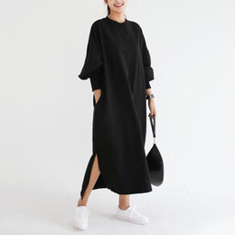 Sudaderas de rayas online-Sudadera con capucha larga Sudadera con capucha para las mujeres Suéteres Top Plus Size Striped Hoody Dress Lantern Modis Sudadera Sudaderas