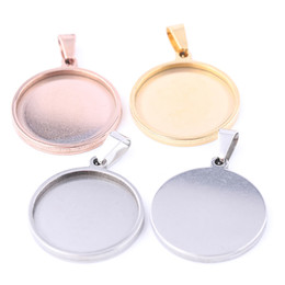 stainless steel necklace blanks Coupons - Shukaki Stainless Steel Blank Cabochon Base Settings Fit 20mm Dia Cabochon Pendant Base Trays Diy Jewerly Necklace Bezel Findings