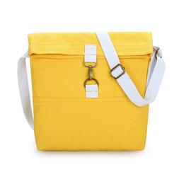 Bolsos blancos sólidos online-Moda Mujer Amarillo + Blanco Lienzo Bolsos de hombro Novedad Suave Color sólido Mujeres Estudiantes Bolsos escolares