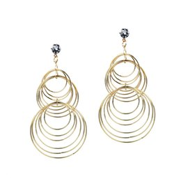 fashion circle long earrings Promo Codes - 2019 fashion jewelry long huge hoop earring for women gold silver color circle round fashion earrings