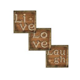 Viva, amor, riso, decoração on-line-Frete Grátis Unframed Live Love Rir Decoração Da Parede Rústico Inspirado Citação Art Prints Giclée Arte Da Lona de Parede Poster (30x30 cm x 3)