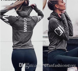 natural yoga clothes Coupons - Women Quick-Dry Sweatshirt Breathable Long Sleeves Letter Printed Fitness Sportswear Hoodies Autumn Winter Sport Yoga Shirt Gym Clothes