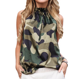 Blusas halter online-Mujeres de seda de seda halter top blusa mujeres 2019 verano sexy blusas sin mangas Femininas florales leopardo camisa suelta tanques Blusas
