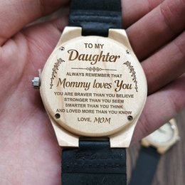 TO MY DAUGHTER MOM Love You Personalized Wood Engraved Watch Minimalist Design Quartz Dropshipping 2019 Birthday Gift Affordable Daughter