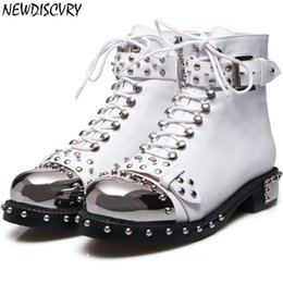 67cb44bb78bc3c NEWDISCVRY Rivet Women's Motorcycle Boots 2019 Fashion Chunky Heel Punk Women  Ankle Boots Metal Toe Zipper Lady Shoes Plus Size