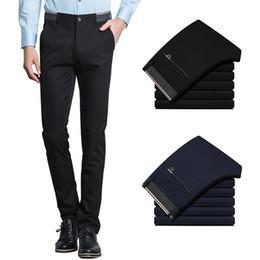 indossare i vestiti Sconti I pantaloni diritti degli uomini di affari di quattro stagioni casuali di stirata 2019 degli uomini portano i pantaloni caldi comodi vestiti maschii nessuna dissolvenza