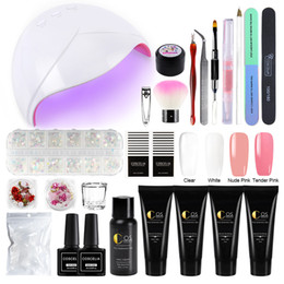 set di smalto francese Sconti COSCELIA 4 pezzi / set kit gel di prolunga poli nail art french nail con lampada UV LED set manicure completo kit smalto gel UV