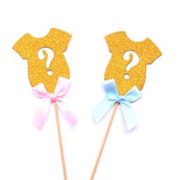 decorazioni torta di cupcake Sconti Gender Reveal Gold Glitter Cupcake Toppers, Mini Cake Decorations per Gender Reveal Baby Shower Party Supplies