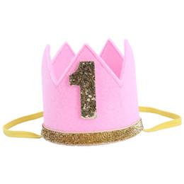 2019 розовая корона Мальчик девочка первый день рождения шляпа Корона номера оголовье тиара партия фото реквизит розовый 1 скидка розовая корона