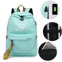 2019 Nuevo estilo Venta caliente Luminoso Carga USB Mochila para mujer Lona de moda de gran capacidad Mochilas escolares Mochila de hombro para niñas adolescentes desde fabricantes