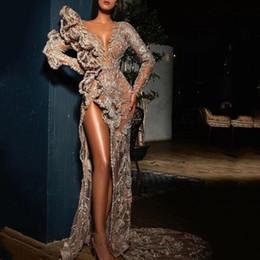 vestido de tirantes de lycra Rebajas 2020 de moda elegante largo vestidos de noche de alta del muslo de Split sirena con cuentas apliques de lentejuelas ocasión formal vestidos de baile robe de soirée