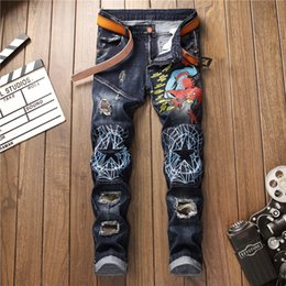 2019 Fashion Men Jeans Hip Hop Cool Streetwear Biker Patch Beggar Hole  Ripped Skinny Jeans Slim Fit Mens Clothes Straight c16f5bde1